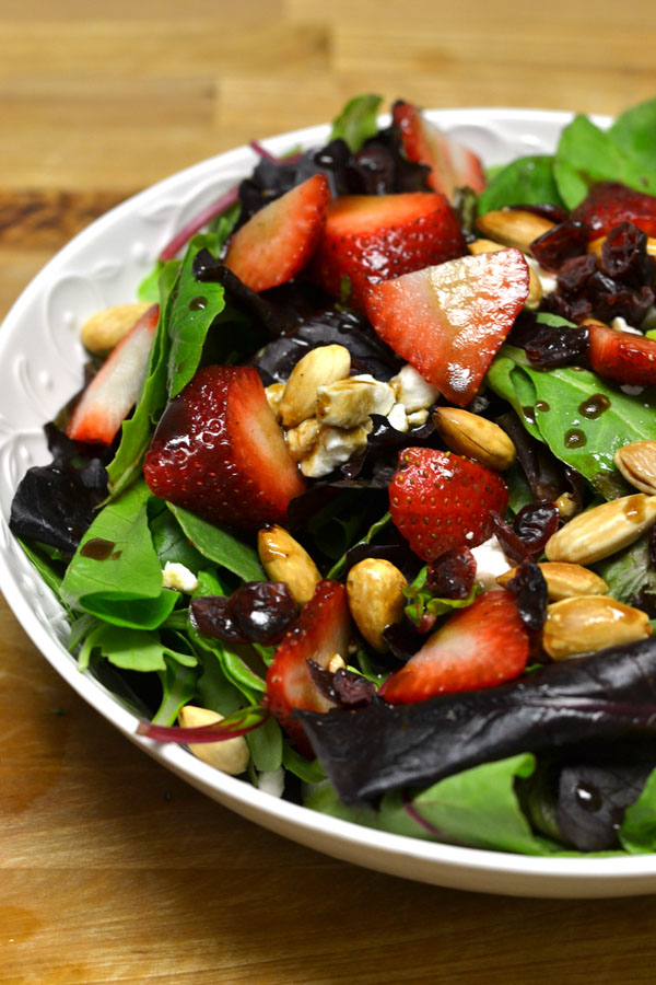 Strawberry and Feta Salad w Honey Balsamic Dressing