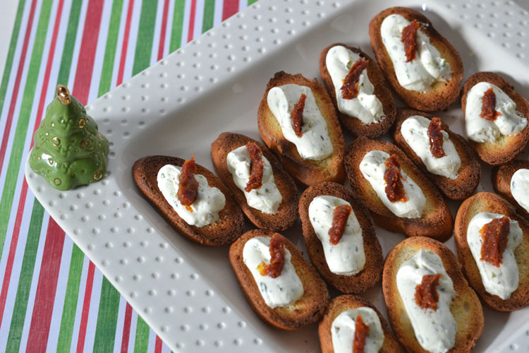 Easy Holida Appetizer - Herbed Goat Cheese with Sundried Tomato on Crostini